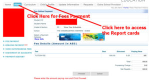 Step 2 : You are presented with the Screen where you can see the outstanding fees and pay it.